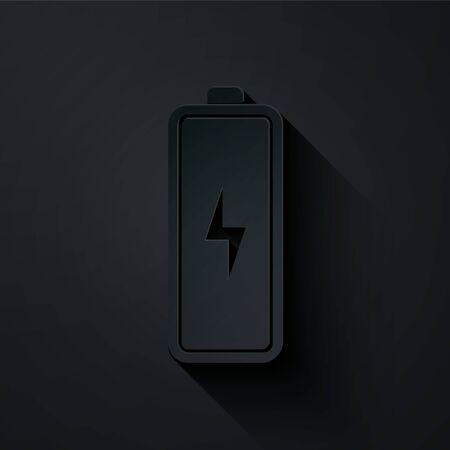 Paper cut Battery icon isolated on black background. Lightning bolt symbol. Paper art style. Vector Illustration Ilustração
