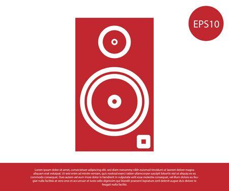 Red Stereo speaker icon isolated on white background. Sound system speakers. Music icon. Musical column speaker bass equipment. Vector Illustration