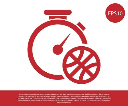 Red Stopwatch with basketball ball inside icon isolated on white background. Basketball time. Sport and training. Vector Illustration Stok Fotoğraf - 134857644