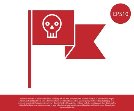 Red Pirate flag with skull icon isolated on white background. Vector Illustration