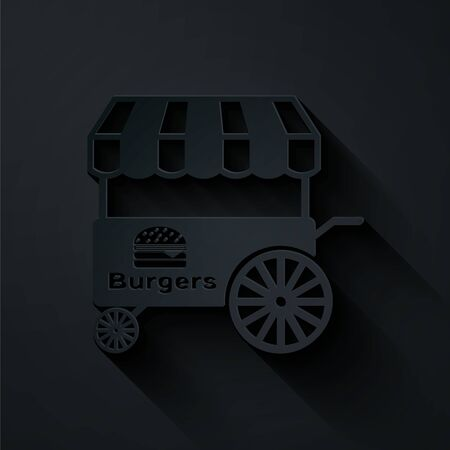 Paper cut Fast street food cart with awning icon isolated on black background. Burger or hamburger icon. Urban kiosk. Paper art style. Vector Illustration
