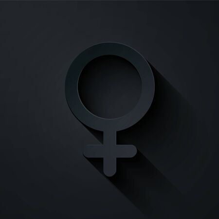 Paper cut Female gender symbol icon isolated on black background. Venus symbol. The symbol for a female organism or woman. Paper art style. Vector Illustration Foto de archivo - 134861188