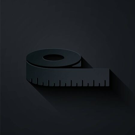 Paper cut Tape measure icon isolated on black background. Measuring tape. Paper art style. Vector Illustration