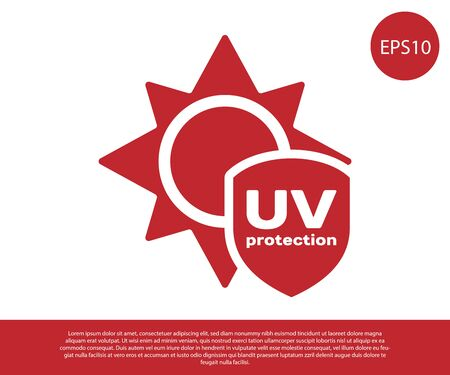 Red UV protection icon isolated on white background. Sun and shield. Ultra violet rays radiation. SPF sun sign. Vector Illustration