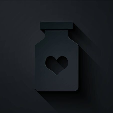 Paper cut Medicine bottle with pills for potency, aphrodisiac icon isolated on black background. Sex pills for men and women. Paper art style. Vector Illustration