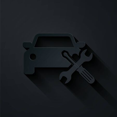 Paper cut Car with screwdriver and wrench icon isolated on black background. Adjusting, service, setting, maintenance, repair, fixing. Paper art style. Vector Illustration