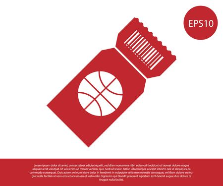 Red Basketball game ticket icon isolated on white background. Vector Illustration Foto de archivo - 134861245