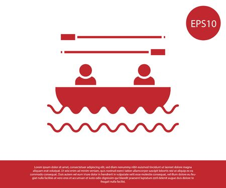 Red Boat with oars and people icon isolated on white background. Water sports, extreme sports, holiday, vacation, team building. Vector Illustration