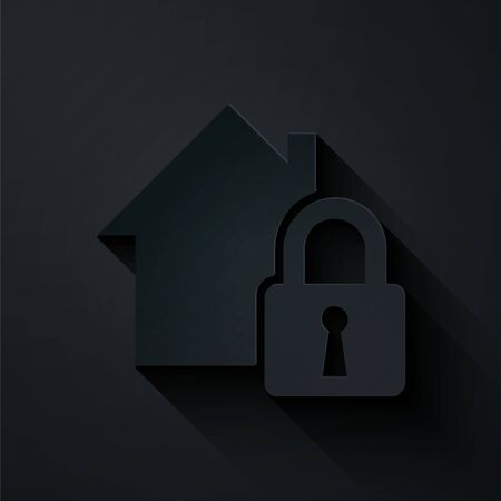 Paper cut House under protection icon isolated on black background. Home and lock. Protection, safety, security, protect, defense concept. Paper art style. Vector Illustration Illusztráció