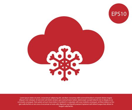 Red Cloud with snow icon isolated on white background. Cloud with snowflakes. Single weather icon. Snowing sign. Vector Illustration Ilustracja