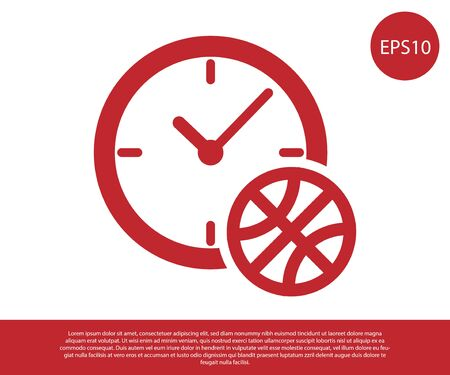 Red Clock with basketball ball inside icon isolated on white background. Basketball time. Sport and training. Vector Illustration Çizim