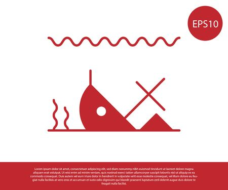 Red Sunken ship at the bottom of the sea icon isolated on white background. Vector Illustration