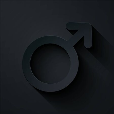 Paper cut Male gender symbol icon isolated on black background. Paper art style. Vector Illustration Foto de archivo - 134861337