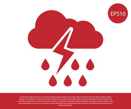 Red Cloud with rain and lightning icon isolated on white background. Rain cloud precipitation with rain drops.Weather icon of storm. Vector Illustration