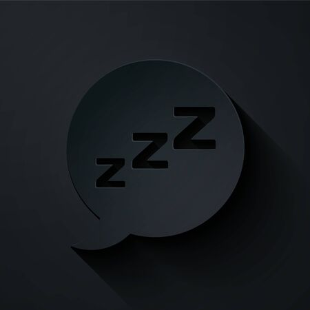 Paper cut Speech bubble with snoring icon isolated on black background. Concept of sleeping, insomnia, alarm clock app, deep sleep, awakening. Paper art style. Vector Illustration
