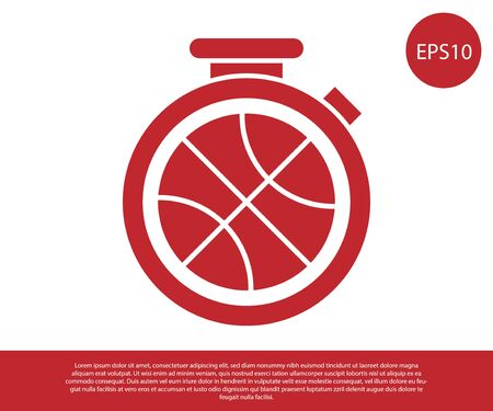 Red Stopwatch with basketball ball inside icon isolated on white background. Basketball time. Sport and training. Vector Illustration Stok Fotoğraf - 134861355