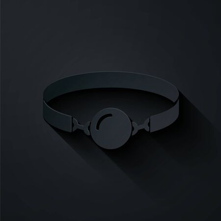 Paper cut Silicone ball gag with a leather belt icon isolated on black background. Fetish accessory. Sex toy for men and woman. Paper art style. Vector Illustration Vettoriali