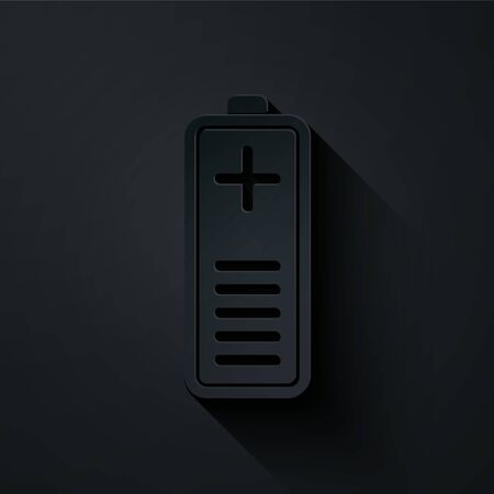 Paper cut Battery charge level indicator icon isolated on black background. Paper art style. Vector Illustration