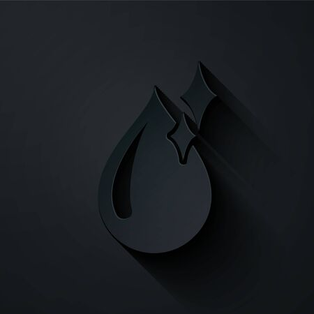 Paper cut Clean water drop icon isolated on black background. Paper art style. Vector Illustration