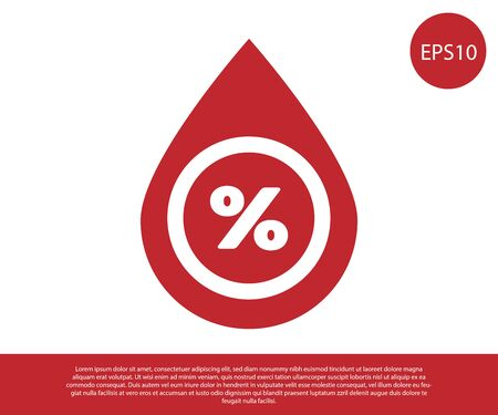 Red Water drop percentage icon isolated on white background. Humidity analysis. Vector Illustration Ilustracja