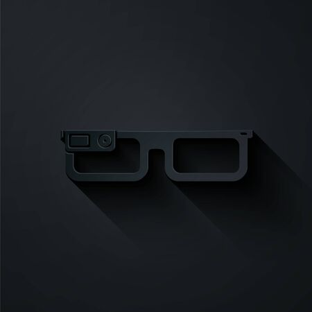 Paper cut Smart glasses mounted on spectacles icon isolated on black background. Wearable electronics smart glasses with camera and display. Paper art style. Vector Illustration Illustration