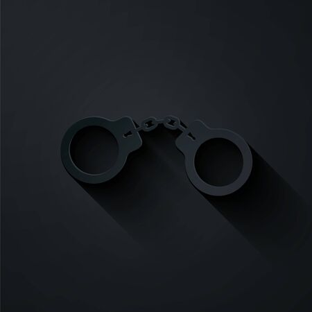Paper cut Handcuffs icon isolated on black background. Paper art style. Vector Illustration