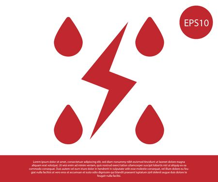 Red Storm icon isolated on white background. Drop and lightning sign. Weather icon of storm. Vector Illustration