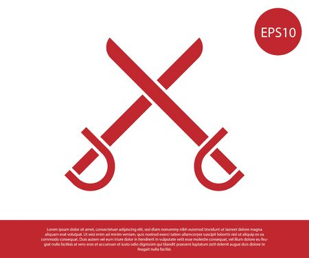 Red Crossed pirate swords icon isolated on white background. Sabre sign. Vector Illustration  イラスト・ベクター素材