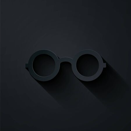 Paper cut Glasses icon isolated on black background. Eyeglass frame symbol. Paper art style. Vector Illustration