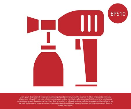 Red Paint spray gun icon isolated on white background. Vector Illustration