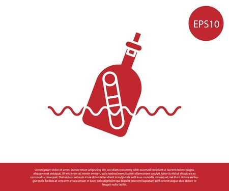 Red Glass bottle with a message in water icon isolated on white background. Letter in the bottle. Pirates symbol. Vector Illustration