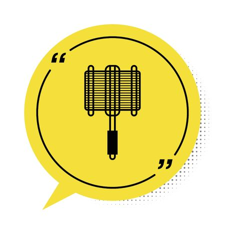 Black Barbecue steel grid icon isolated on white background. Top view of BBQ grill. Wire rack for BBQ. Grilling basket. Yellow speech bubble symbol. Vector Illustration Illusztráció