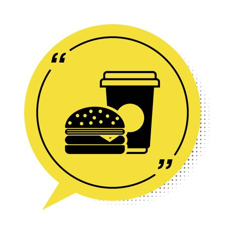 Black Coffee and burger icon isolated on white background. Fast food symbol. Yellow speech bubble symbol. Vector Illustration