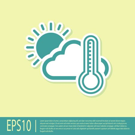 Green Thermometer and cloud with sun icon isolated on yellow background. Vector Illustration