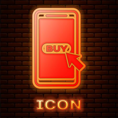 Glowing neon Mobile phone and shopping cart icon isolated on brick wall background. Online buying symbol. Supermarket basket symbol. Vector Illustration