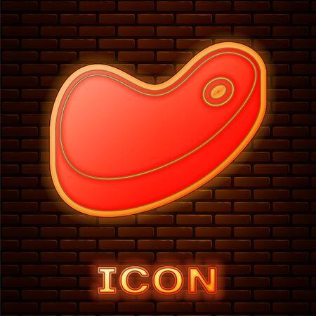 Glowing neon Steak meat icon isolated on brick wall background. Vector Illustration Illusztráció