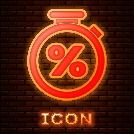 Glowing neon Stopwatch and percent discount icon isolated on brick wall background. Time timer sign. Vector Illustration