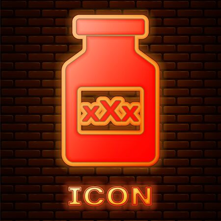 Glowing neon Medicine bottle with pills for potency, aphrodisiac icon isolated on brick wall background. Sex pills for men and women. Vector Illustration