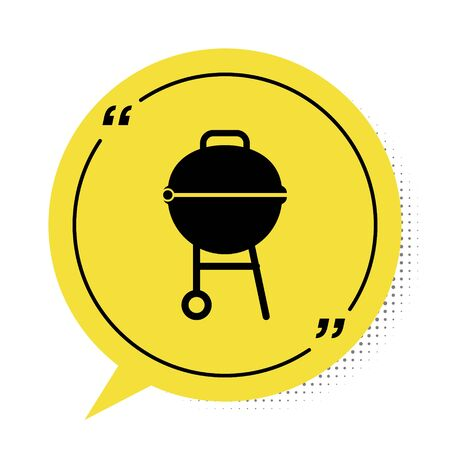 Black Barbecue grill icon isolated on white background. BBQ grill party. Yellow speech bubble symbol. Vector Illustration