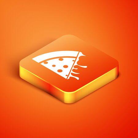 Isometric Slice of pizza icon isolated on orange background. Vector Illustration Illusztráció
