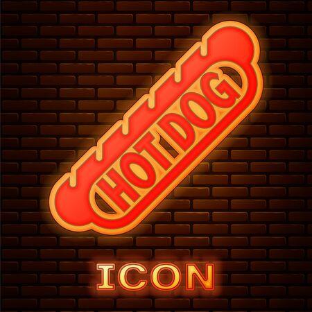 Glowing neon Hotdog sandwich icon isolated on brick wall background. Sausage icon. Fast food sign. Vector Illustration Illusztráció