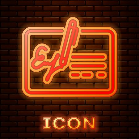Glowing neon Signed document line icon isolated on brick wall background. Pen signing a contract with signature. Edit document sign. Vector Illustration