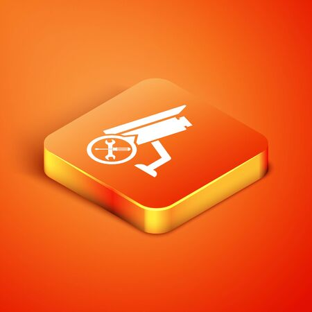 Isometric Security camera with screwdriver and wrench icon isolated on orange background. Adjusting, service, setting, maintenance, repair, fixing. Vector Illustration