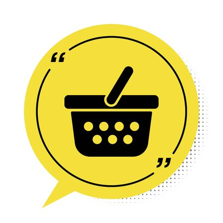 Black Shopping basket icon isolated on white background. Online buying concept. Delivery service sign. Shopping cart symbol. Yellow speech bubble symbol. Vector Illustration