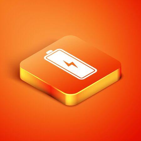 Isometric Battery icon isolated on orange background. Lightning bolt symbol. Vector Illustration Ilustração