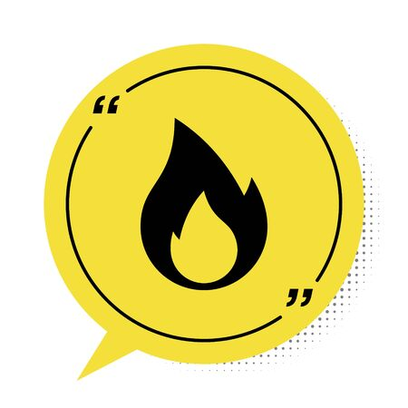 Black Fire flame icon isolated on white background. Heat symbol. Yellow speech bubble symbol. Vector Illustration