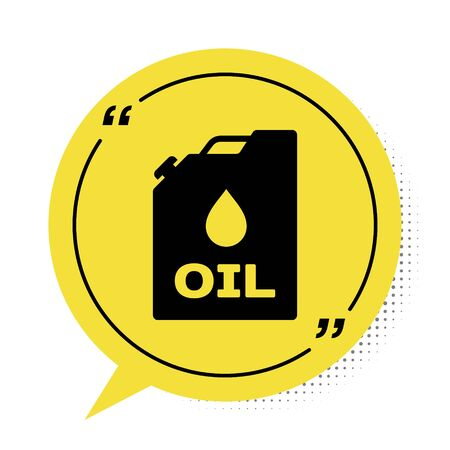 Black Plastic canister for motor machine oil icon isolated on white background. Oil gallon. Oil change service and repair. Engine oil sign. Yellow speech bubble symbol. Vector Illustration Illusztráció