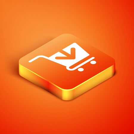 Isometric Add to Shopping cart icon isolated on orange background. Online buying concept. Delivery service sign. Supermarket basket symbol. Vector Illustration