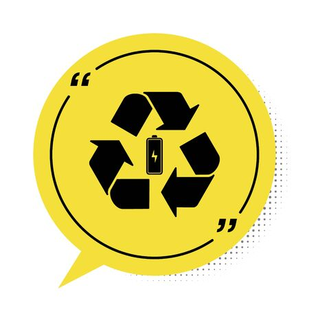 Black Battery with recycle symbol line icon isolated on white background. Battery with recycling symbol - renewable energy concept. Yellow speech bubble symbol. Vector Illustration
