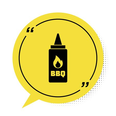 Black Ketchup bottle icon isolated on white background. Fire flame icon. Barbecue and BBQ grill symbol. Yellow speech bubble symbol. Vector Illustration Illustration